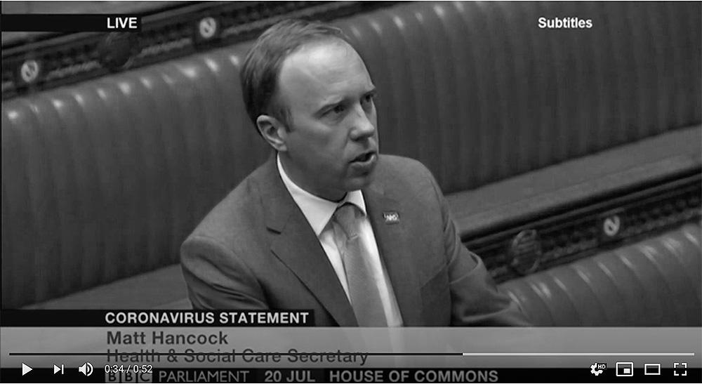 Matt Hancock answers question in Parliament