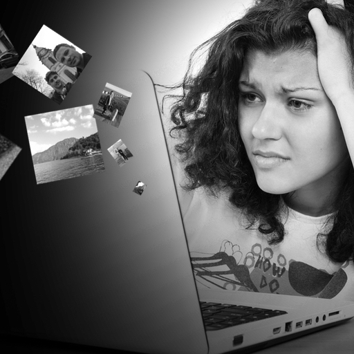 Woman frustrated at laptop, with personal data seaping out the back of the laptop.