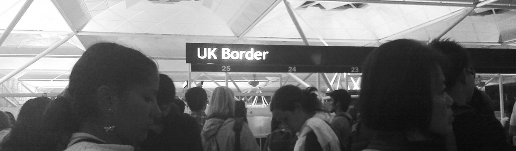 People queued at the UK border