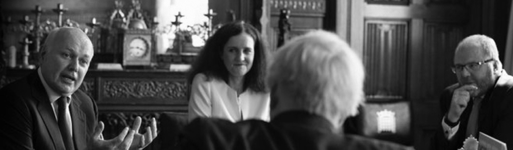 Prime minister Boris Johnson holds a meeting with Sir Iain Duncan Smith, Theresa Villiers and George Freeman to discuss the launch of the Taskforce on Innovation, Growth and Regulatory Reform (TIGERR) at his office in the House of Commons.