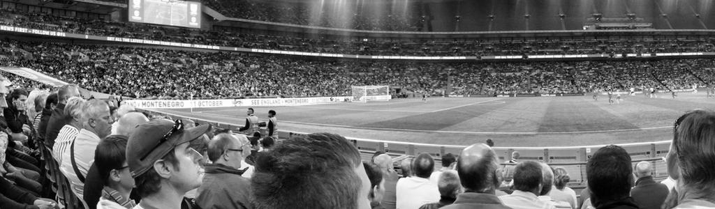 Football fans at Wembley Stadium