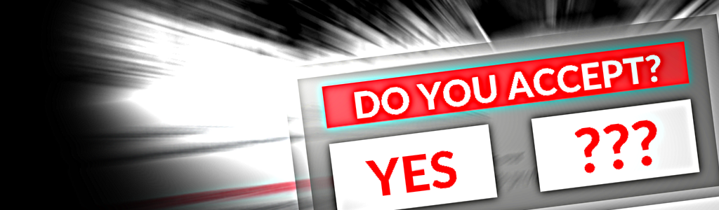"""Website pop-up with consent choices of """"YES"""" or """"???"""""""
